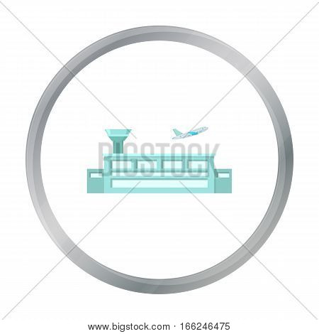 Airport icon cartoon. Single building icon from the big city infrastructure cartoon stock vector - stock vector