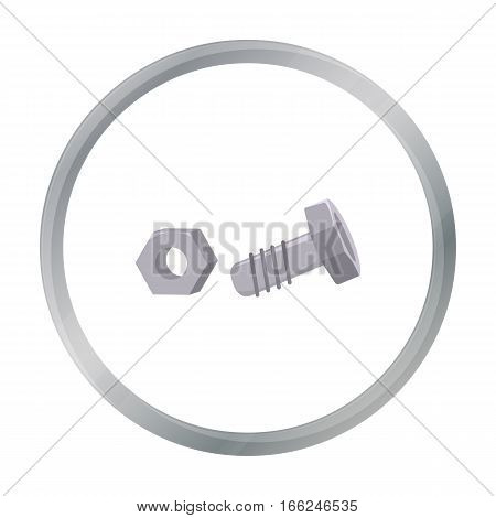 Structural bolt and hex nut icon in cartoon style isolated on white background. Build and repair symbol vector illustration. - stock vector