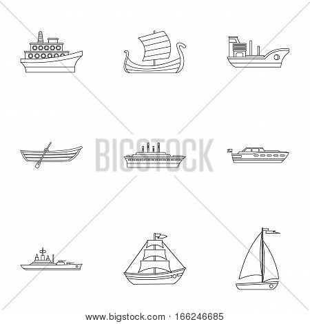 Yacht icons set. Outline illustration of 9 yacht vector icons for web