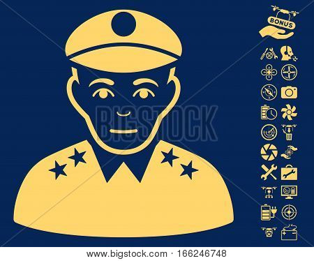Army General pictograph with bonus nanocopter tools symbols. Vector illustration style is flat iconic yellow symbols on blue background.