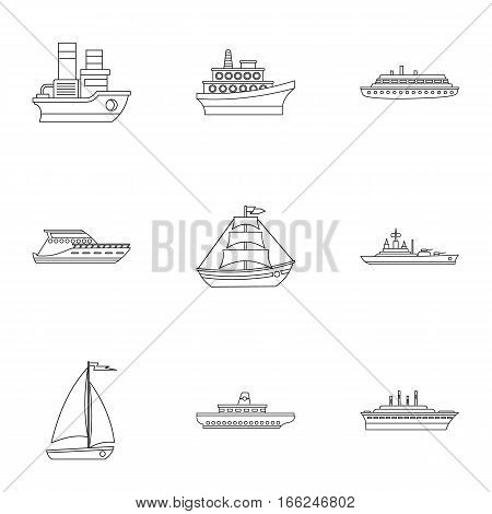 Boat icons set. Outline illustration of 9 boat vector icons for web