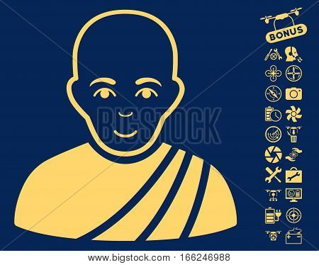 Buddhist Monk icon with bonus nanocopter service pictures. Vector illustration style is flat iconic yellow symbols on blue background.