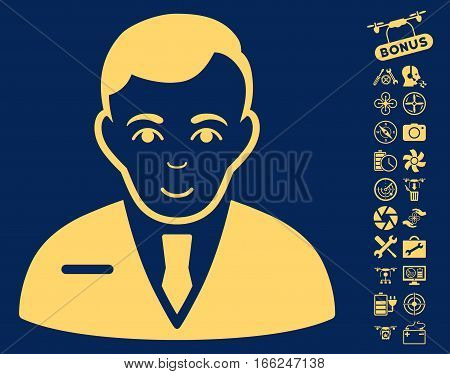 Businessman icon with bonus airdrone service pictograms. Vector illustration style is flat iconic yellow symbols on blue background. poster