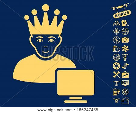 Computer Moderator pictograph with bonus airdrone tools design elements. Vector illustration style is flat iconic yellow symbols on blue background.