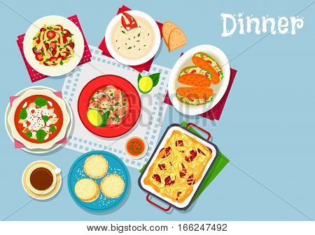 Seafood, pasta dishes icon of pasta sausage casserole with cheese, lobster salad, tomato pasta soup with cheese, fish cream soup, tomato spaghetti with chorizo, grilled lobster sandwich, corn cookie