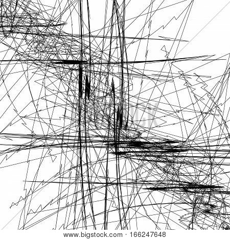 Sketchy lines art image. Pattern with random scribble / sketchy intersecting lines poster