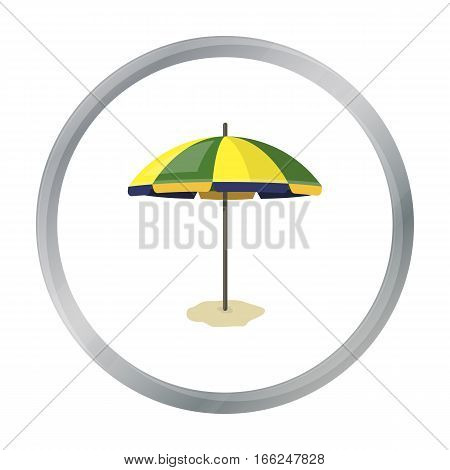 Yelow-green beach umbrella icon in cartoon design isolated on white background. Brazil country symbol stock vector illustration. - stock vector