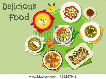 Nutritious dinner icon with beef vegetable soup, spaghetti soup with meat and egg, beef roll with cheese and spinach, meatball soup, lentil tomato salad, meat soup with pickles, eggplant cream soup
