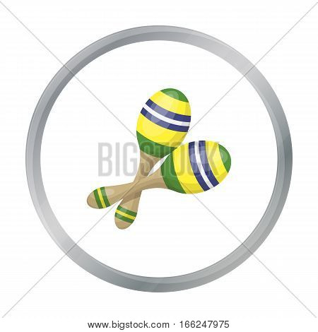 Brazilian maracas icon in cartoon design isolated on white background. Brazil country symbol stock vector illustration. - stock vector