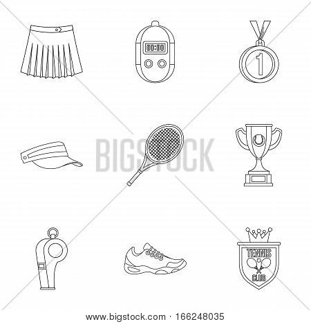 Play in tennis icons set. Outline illustration of 9 play in tennis vector icons for web