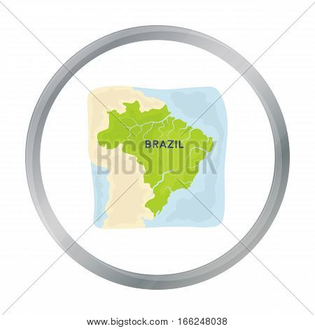 Territory of Brazil icon in cartoon design isolated on white background. Brazil country symbol stock vector illustration. - stock vector