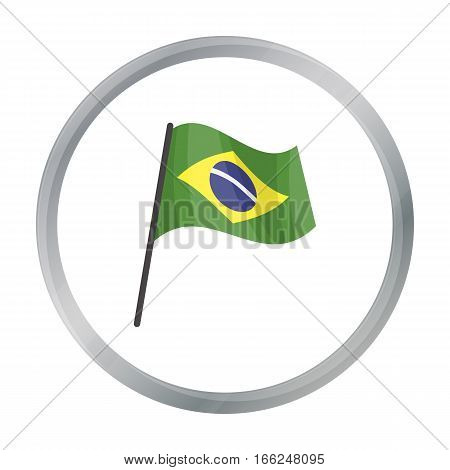 Flag of Brazil icon in cartoon design isolated on white background. Brazil country symbol stock vector illustration. - stock vector