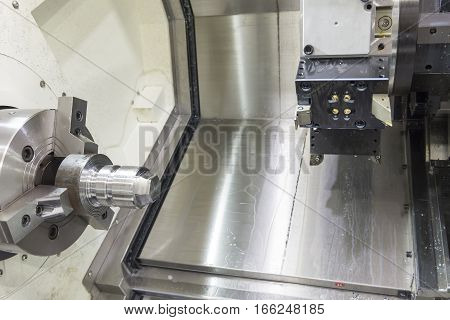CNC lath machine (CNC Turning machine) wire cutting roughing process with the raw material rod