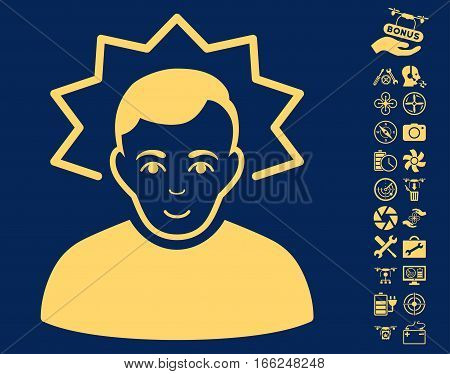 Inventor pictograph with bonus drone service clip art. Vector illustration style is flat iconic yellow symbols on blue background.