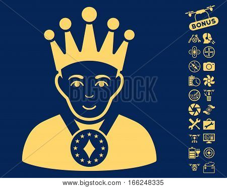 King pictograph with bonus nanocopter service pictures. Vector illustration style is flat iconic yellow symbols on blue background.