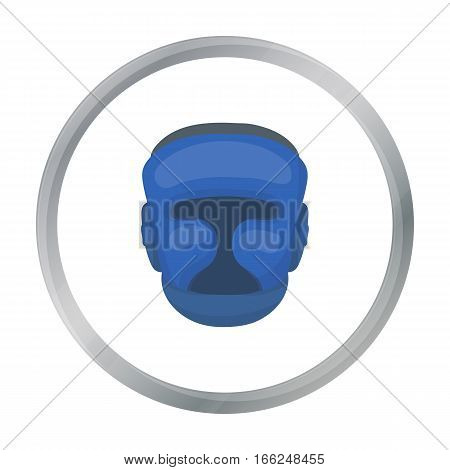 Boxing helmet icon in cartoon style isolated on white background. Boxing symbol vector illustration. - stock vector