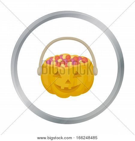Halloween bucket icon in cartoon style isolated on white background. Black and white magic symbol vector illustration. - stock vector