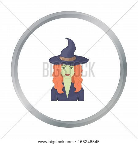 Witch icon in cartoon style isolated on white background. Black and white magic symbol vector illustration. - stock vector