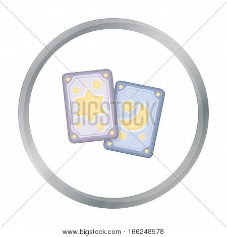 Tarot cards icon in cartoon style isolated on white background. Black and white magic symbol vector illustration. - stock vector