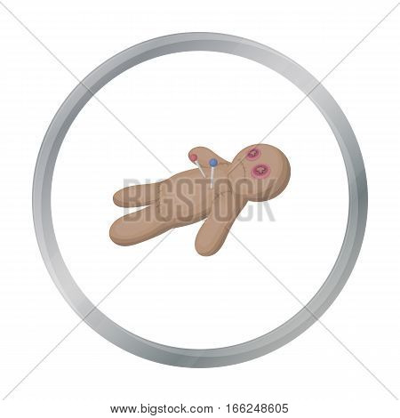 Voodoo doll icon in cartoon style isolated on white background. Black and white magic symbol vector illustration. - stock vector