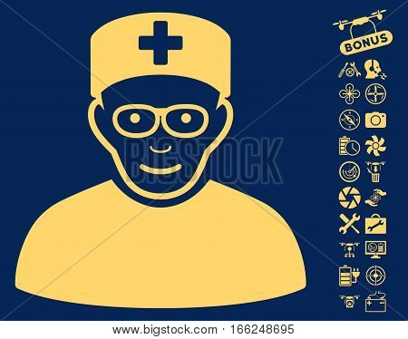 Medical Specialist icon with bonus drone tools clip art. Vector illustration style is flat iconic yellow symbols on blue background.