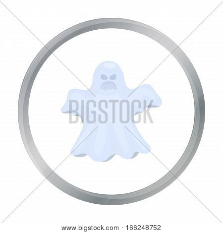 Ghost icon in cartoon style isolated on white background. Black and white magic symbol vector illustration. - stock vector