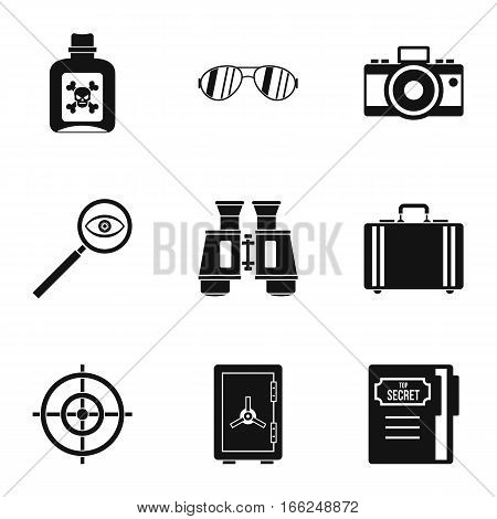 Surveillance icons set. Simple illustration of 9 surveillance vector icons for web