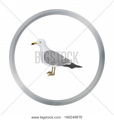 Seagull icon in cartoon style isolated on white background. Bird symbol vector illustration. - stock vector