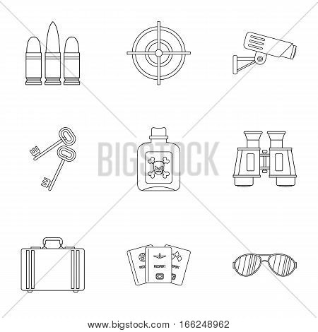 Detective icons set. Outline illustration of 9 detective vector icons for web