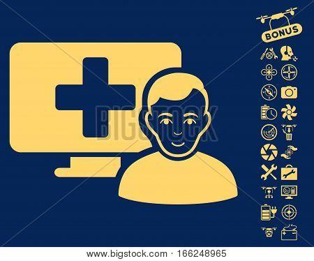 Online Medicine icon with bonus quad copter service icon set. Vector illustration style is flat iconic yellow symbols on blue background.