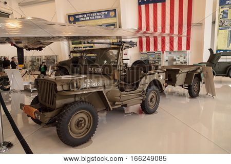Santa Ana CA USA - January 21 2017: Army Green 1942 Ford GPW Military Jeep displayed at the Lyon Air Museum in El Santa Ana California United States. It was used during World War II. Editorial use only.