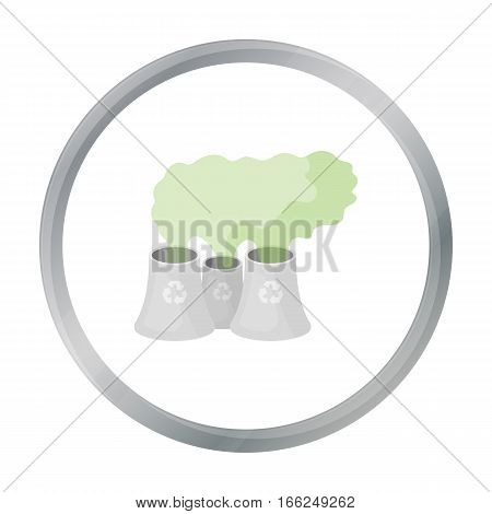 Recycling plant icon in outline design isolated on white background. Bio and ecology symbol stock vector illustration. - stock vector