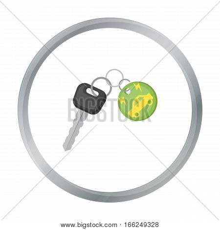 Key from eco car icon in outline design isolated on white background. Bio and ecology symbol stock vector illustration. - stock vector