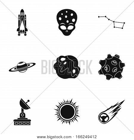 Outer space icons set. Simple illustration of 9 outer space vector icons for web