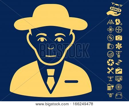 Secret Service Agent pictograph with bonus flying drone tools pictograms. Vector illustration style is flat iconic yellow symbols on blue background.