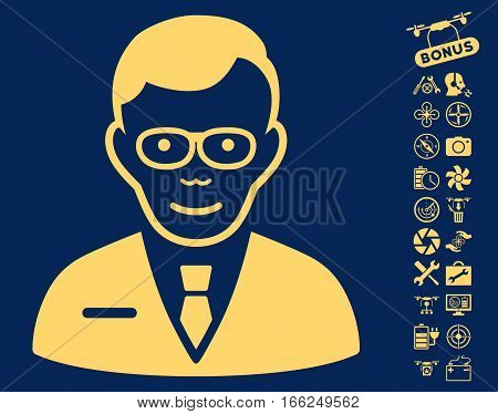 Specialist pictograph with bonus quad copter tools symbols. Vector illustration style is flat iconic yellow symbols on blue background. poster