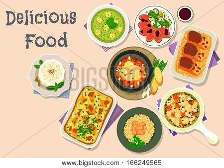 Light meal icon of vegetable pie with mozzarella, spinach cheese and bean soups, chicken rice, beef with potato salad, fish soup with veggies, almond ice cream, baked fish with rice