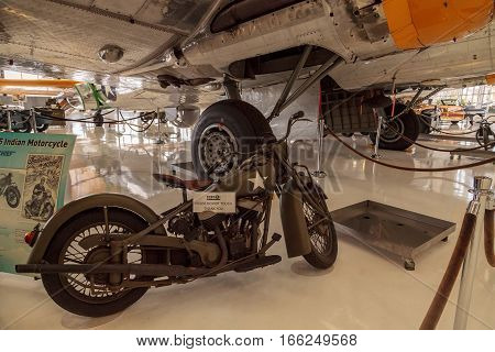 Santa Ana CA USA - January 21 2017: Green 1945 Indian Chief motorcycle displayed at the Lyon Air Museum in El Santa Ana California United States. It was used during World War II. Editorial use only.