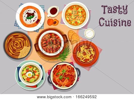 Meat dinner icon with pork bacon stew with mushroom, potato baked with pork ribs, mushroom soup, potato casserole with poppy seed, vegetable soup with egg, cherry cream dessert with peach sauce