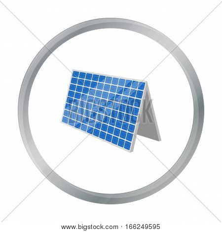 Solar panel icon in outline design isolated on white background. Bio and ecology symbol stock vector illustration. - stock vector