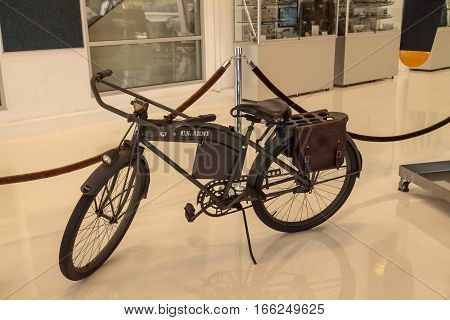 Santa Ana CA USA - January 21 2017: U.S. Army 1936 Hawthorne Zep Bicycle displayed at the Lyon Air Museum in El Santa Ana California United States. It was used during World War II. Editorial use only.