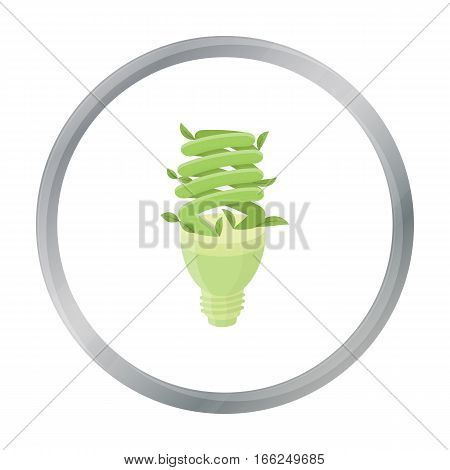 Ecological fluorescent lamp icon in outline design isolated on white background. Bio and ecology symbol stock vector illustration. - stock vector