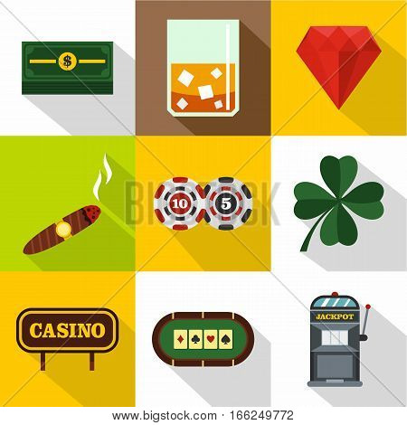 Win icons set. Flat illustration of 9 win vector icons for web