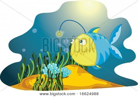 A  lone anglerfish amongst seaweed and bubbles