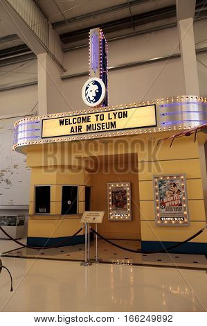 Santa Ana CA USA - January 21 2017: Movie theater display at the Lyon Air Museum in Santa Ana California United States. It was used as VIP transportation during World War II. Editorial use only.