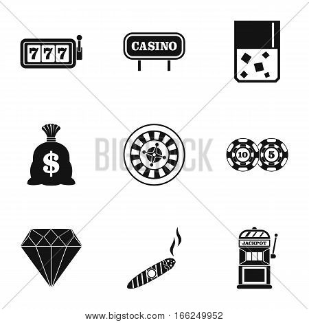 Gambling house icons set. Simple illustration of 9 gambling house vector icons for web