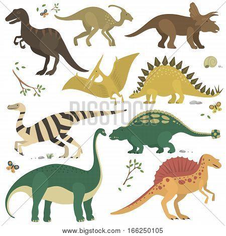 Vector collection of cute cartoon dinosaurs. Funny predator tyrannosaurus comic lizard. Fantasy brontosaurus mascot monster animal prehistoric character.