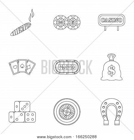 Gambling house icons set. Outline illustration of 9 gambling house vector icons for web