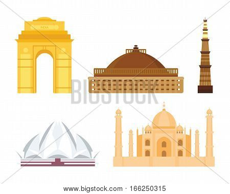 India landmark travel vector taj mahal icon. Culture sign design historic hinduism elements. Modern tradition beautiful travel time symbols.