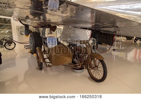 Santa Ana CA USA - January 21 2017: Olive green 1921 Harley Davidson motorcycle and sidecar displayed at the Lyon Air Museum in Santa Ana California United States. It was used during World War II. Editorial use only.